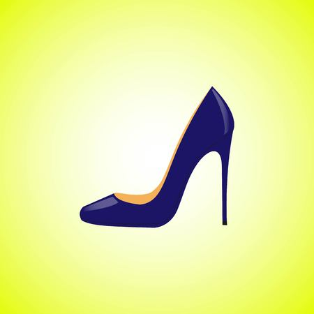 Realistic blue women shoes isolated on a yellow background