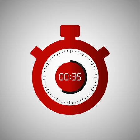 Stopwatch icon in flat style, red timer on gray background. Sport clock. Vector design element for you project. Stopwatch 35 seconds. Vector illustration EPS 10. Vectores