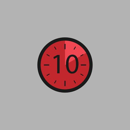 Ten Seconds Clock on gray background. Stopwatch icon in flat style, red timer. Sport clock. Vector design element for you project. Vector illustration EPS 10. Иллюстрация
