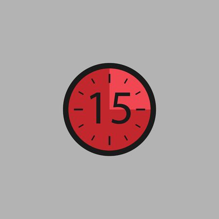 Fifteen Seconds Clock on gray background. Stopwatch icon in flat style, red timer. Sport clock. Vector design element for you project. Vector illustration EPS 10.