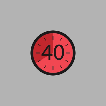 Fourty Seconds Clock on gray background. Stopwatch icon in flat style, red timer. Sport clock. Vector design element for you project. Vector illustration EPS 10.