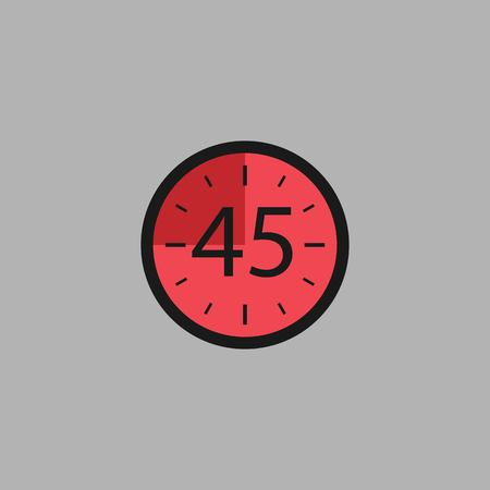 Fourty Five Seconds Clock on gray background. Stopwatch icon in flat style, red timer. Sport clock. Vector design element for you project. Vector illustration