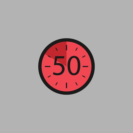 Fifty Seconds Clock on gray background. Stopwatch icon in flat style, red timer. Sport clock. Vector design element for you project. Vector illustration EPS 10. Иллюстрация