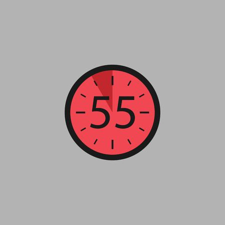 Fifty five Seconds Clock on gray background. Stopwatch icon in flat style, red timer. Sport clock. Vector design element for you project. Vector illustration EPS 10. Иллюстрация