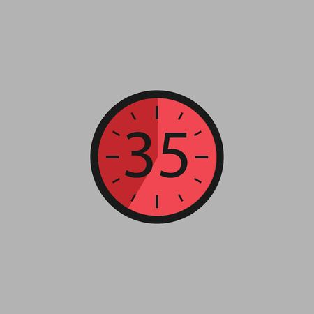 Thirty Five Seconds Clock on gray background. Stopwatch icon in flat style, red timer. Sport clock. Illustration