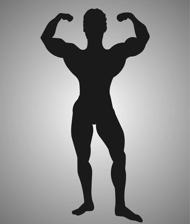 Silhouette of an athlete. Silhouette of a sports man. Vector illustration