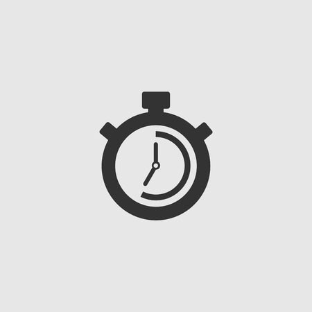 Stopwatch Vector Icon. The 35 seconds, minutes stopwatch icon on gray background. Clock and watch, timer, countdown symbol. EPS 10 vector.