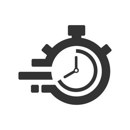 Fast time delivery icon, stopwatch in motion, deadline concept, clock speed. The 40 seconds, minutes stopwatch icon on gray background. Clock and watch, timer, countdown symbol. EPS 10 vector.