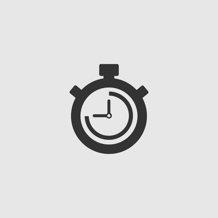 Stopwatch Vector Icon. The 45 seconds, minutes stopwatch icon on gray background. Clock and watch, timer, countdown symbol. EPS 10 vector. Иллюстрация