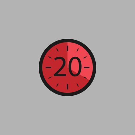 Twenty Seconds Clock on gray background. Stopwatch icon in flat style, red timer. Sport clock. Vector design element for you project. Vector illustration EPS 10.