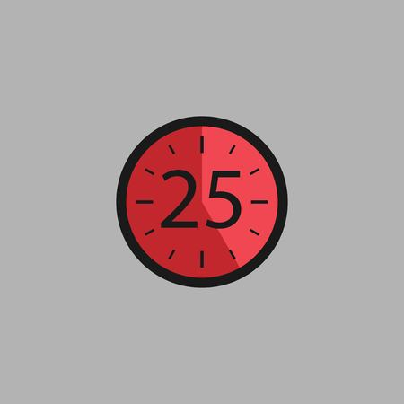 Twenty Five Seconds Clock on gray background. Stopwatch icon in flat style, red timer. Sport clock. Vector design element for you project. Vector illustration EPS 10. Иллюстрация