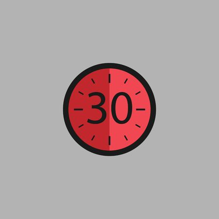Thirty Seconds Clock on gray background. Stopwatch icon in flat style, red timer. Sport clock. Vector design element for you project. Vector illustration EPS 10.