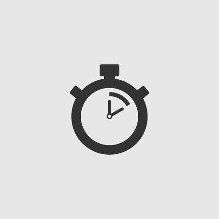 Stopwatch Vector Icon. The 10 seconds, minutes stopwatch icon on gray background. Clock and watch, timer, countdown symbol. EPS 10 vector.