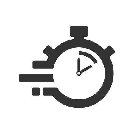 Fast time delivery icon, stopwatch in motion, deadline concept, clock speed. The 10 seconds, minutes stopwatch icon on gray background. Clock and watch, timer, countdown symbol. EPS 10 vector.