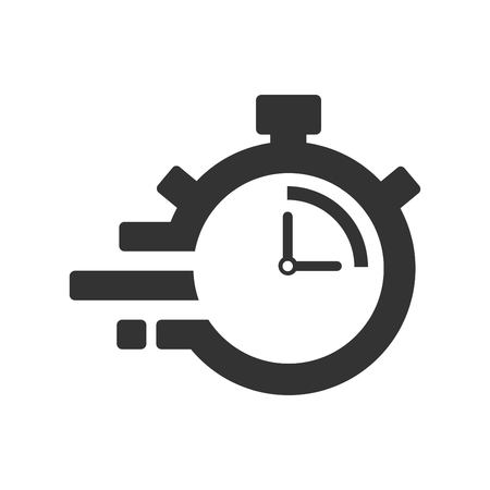 Fast time delivery icon, stopwatch in motion, deadline concept, clock speed. The 15 seconds, minutes stopwatch icon on gray background. Clock and watch, timer, countdown symbol. EPS 10 vector.