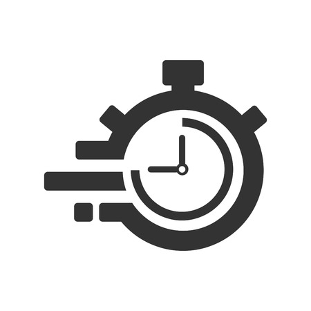Fast time delivery icon, stopwatch in motion, deadline concept, clock speed. The 45 seconds, minutes stopwatch icon on gray background. Clock and watch, timer, countdown symbol. EPS 10 vector.