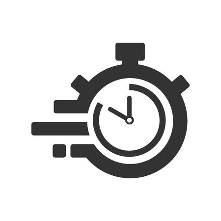 Fast time delivery icon, stopwatch in motion, deadline concept, clock speed. The 50 seconds, minutes stopwatch icon on gray background. Clock and watch, timer, countdown symbol. EPS 10 vector.