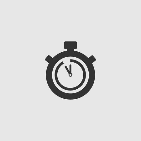 Stopwatch Vector Icon. The 55 seconds, minutes stopwatch icon on gray background. Clock and watch, timer, countdown symbol. EPS 10 vector. Illustration