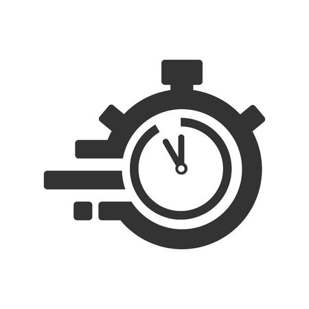 Fast time delivery icon, stopwatch in motion, deadline concept, clock speed. The 55 seconds, minutes stopwatch icon on gray background. Clock and watch, timer, countdown symbol. EPS 10 vector.