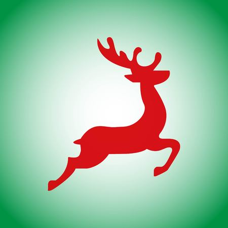 Christmas deer red flying icon sihouette on green background. Happy merry christmas icon design. Vector illustration EPs 10.