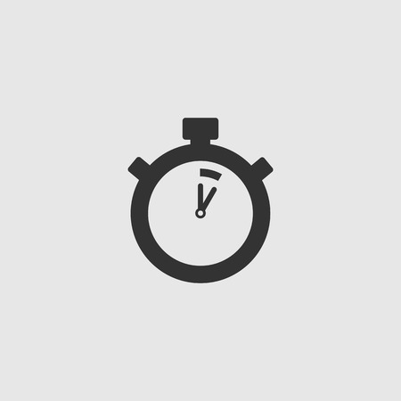 Stopwatch Vector Icon. The 5 seconds, minutes stopwatch icon on gray background. Clock and watch, timer, countdown symbol. EPS 10 vector. Illustration