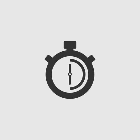 Stopwatch Vector Icon. The 30 seconds, minutes stopwatch icon on gray background. Clock and watch, timer, countdown symbol. EPS 10 vector. Stock Vector - 126347739