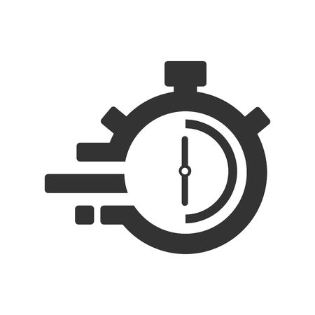 Fast time delivery icon, stopwatch in motion, deadline concept, clock speed. The 30 seconds, minutes stopwatch icon on gray background. Clock and watch, timer, countdown symbol. EPS 10 vector.