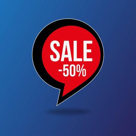 Comma symbol sale tag bange red and black on background. Vector illustration