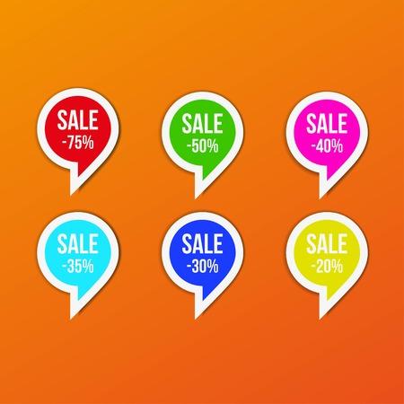 Comma symbol sale tag bange multicolour. Vector illustration
