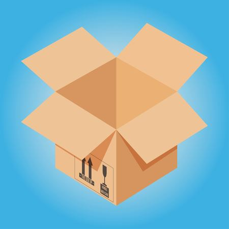 Carton packaging box. Isometric carton packaging box with postal signs this side up fragile. Opened cardboard box on blue background. Vector illustration EPS 10.