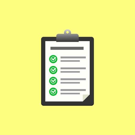 Outline checklist vector icon in flat design. Checklist illustration for web, mobile apps, design. Checklist vector symbol. Clipboard with checklist icon. Vector illustration EPS 10.