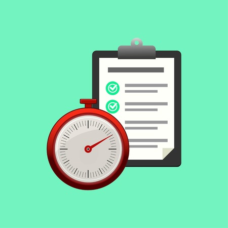 Fast service. Stopwatch with checklist and completed tasks isolated on blue background. Vector illustration EPS 10. Illustration