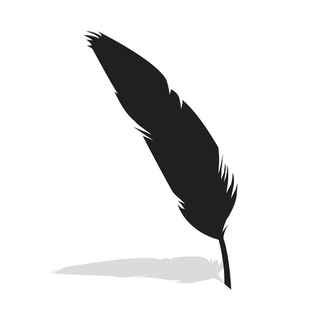 Vector feather silhouette isolated on white background. Feather of bird. Vector illustration EPS 10.