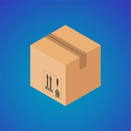 Cardboard box. Isometric cardboard box with the postal signs of this side is fragile. Closed cardboard box on blue background. Vector illustration EPS 10.