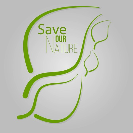 Digitally generated Earth day vector. Text on plants background. Save our nature. Vector illustration EPS 10.