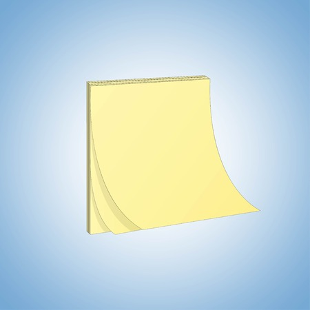 Vector yellow realistic square paper adhesive stickers with curved corner on blue background. Vector illustration Illustration