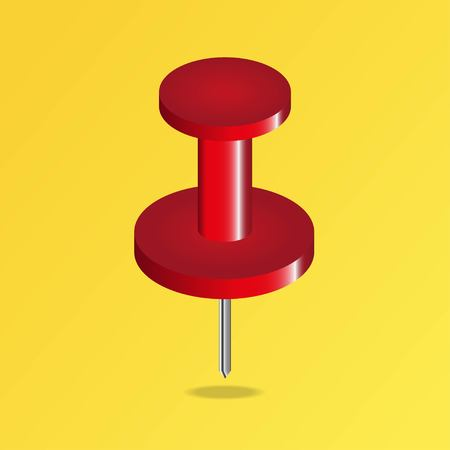 Realistic red thumbtack pin isolated on yellow background. Red push pin. Vector illustration EPS 10.