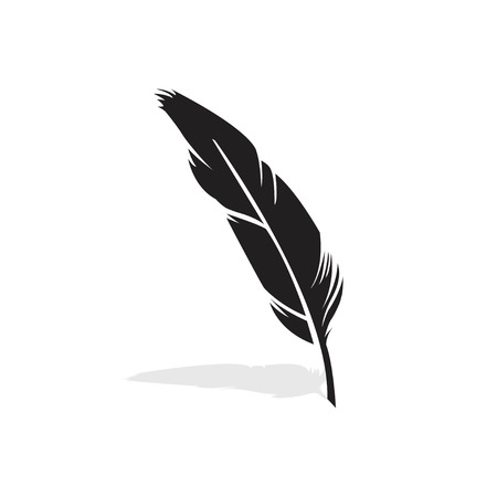 Vector feather silhouette isolated on white background. Option 2. Feather of bird. Vector illustration EPS 10.