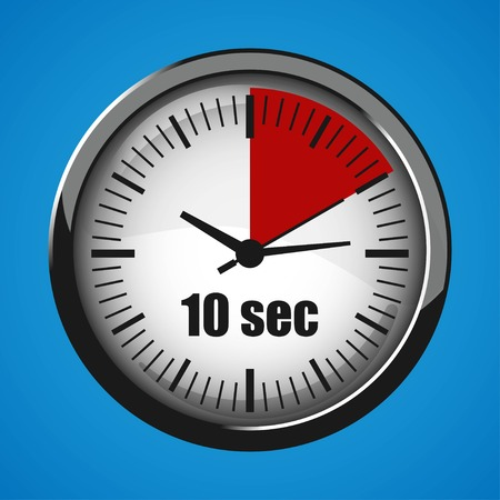 Ten Seconds Clock on blue background. Clock 3d icon. Stopwatch icon. Stock Vector - 125047535