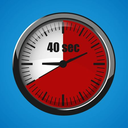 Fourty Seconds Clock on blue background. Clock 3d icon. Stopwatch icon.
