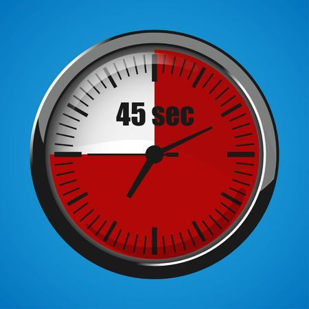 Fourty Five Seconds Clock on blue background. Clock 3d icon. Stopwatch icon.