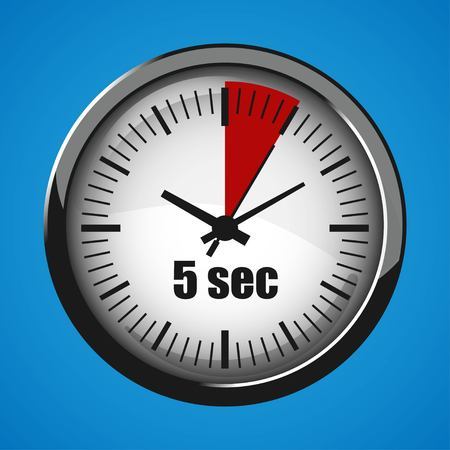 Five Seconds Clock on blue background. Clock 3d icon. Stopwatch icon. Stock Vector - 125047538