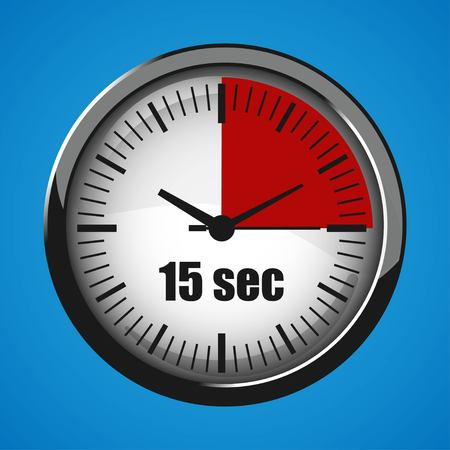Fifteen Seconds Clock on blue background. Clock 3d icon. Stopwatch icon. Illustration