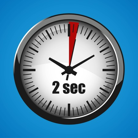 Two Seconds Clock on blue background. Clock 3d icon. Stopwatch icon.