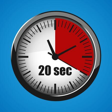 Twenty Seconds Clock on blue background. Clock 3d icon. Stopwatch icon. Illustration