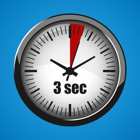ThreeSeconds Clock on blue background. Clock 3d icon. Stopwatch icon.