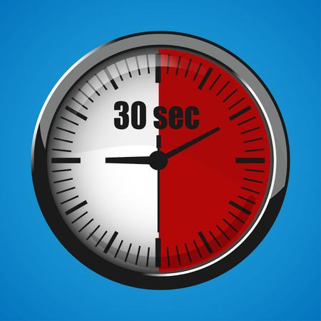 Thirty Seconds Clock on blue background. Clock 3d icon. Stopwatch icon. Stock Vector - 125047543
