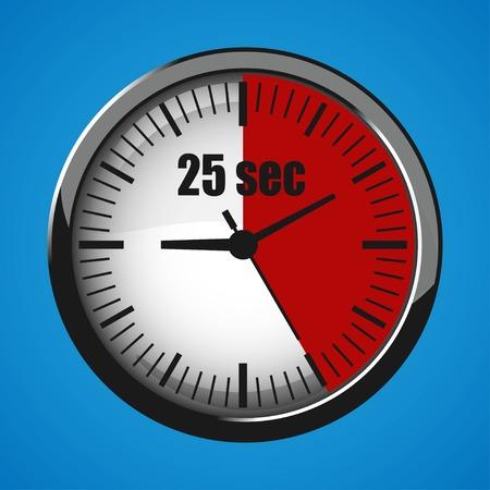 Twenty Five Seconds Clock on blue background. Clock 3d icon. Stopwatch icon.