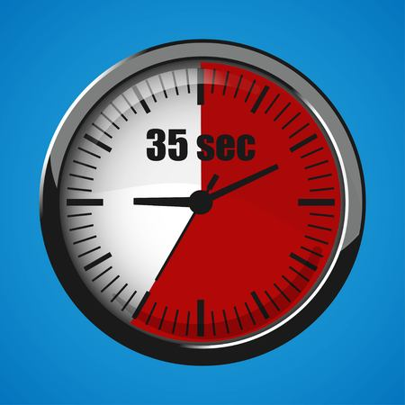 Thirty Five Seconds Clock on blue background. Clock 3d icon. Stopwatch icon.