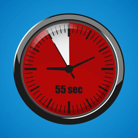 Fifty Five Seconds Clock on blue background. Clock 3d icon. Stopwatch icon.